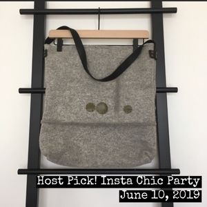 ⭐️HP!⭐️ Felted Wool Tote Leather Strap + Accents